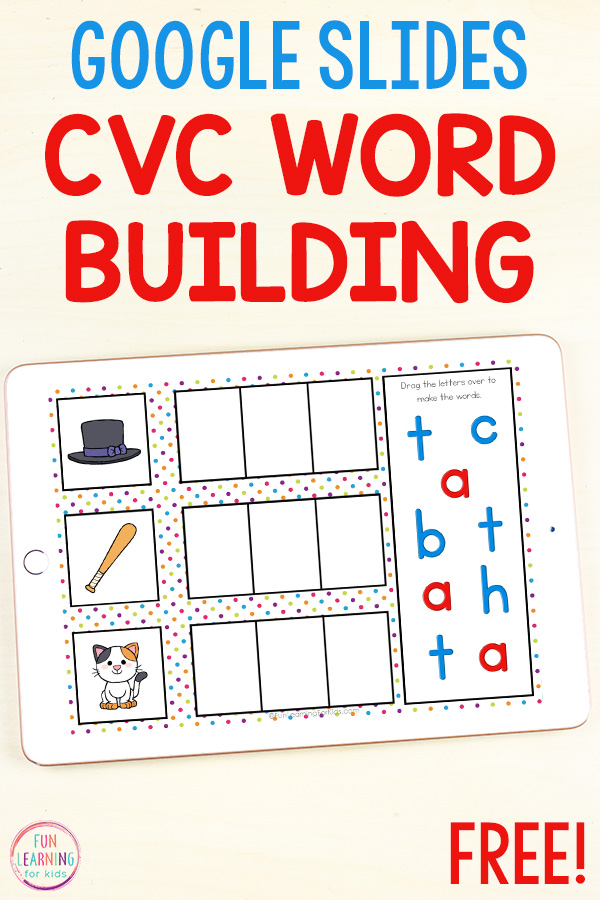 Google slides CVC word building activity for distance learning. Just drag letters over to build words.
