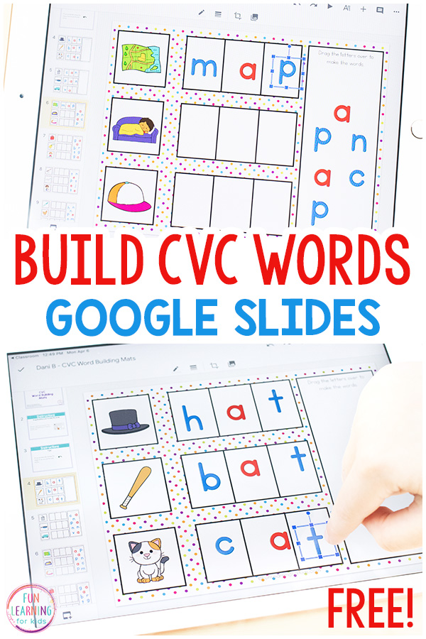 CVC word building mats for Google Slides. A fun literacy activity for distance learning.