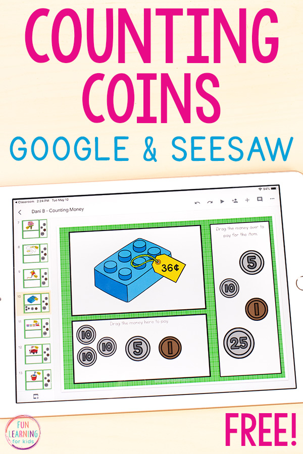 Picture of a counting coins money activity for students to use on Google Slides and Seesaw. There is a toy block with a price tag on it and coins for students to move over to pay for the item.