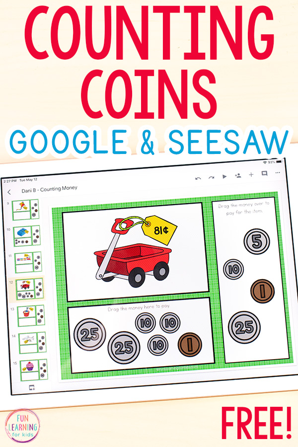 A picture of a toy wagon with a price tag on it and virtual coins that students can drag over to pay for the object with. Your students will love this counting coins activity!