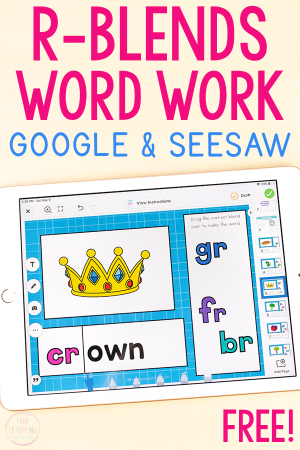 A free R-blends phonics activity for Google Slides and Seesaw.