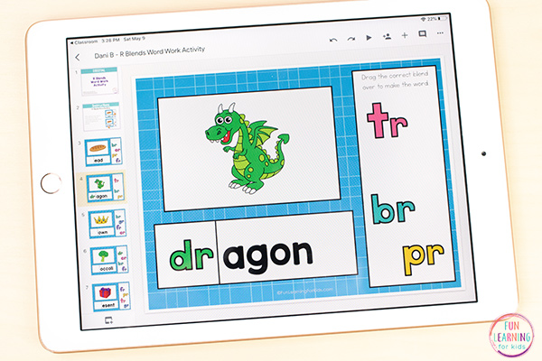 Free learn to read activity for r-blends word work on Seesaw and Google Slides.