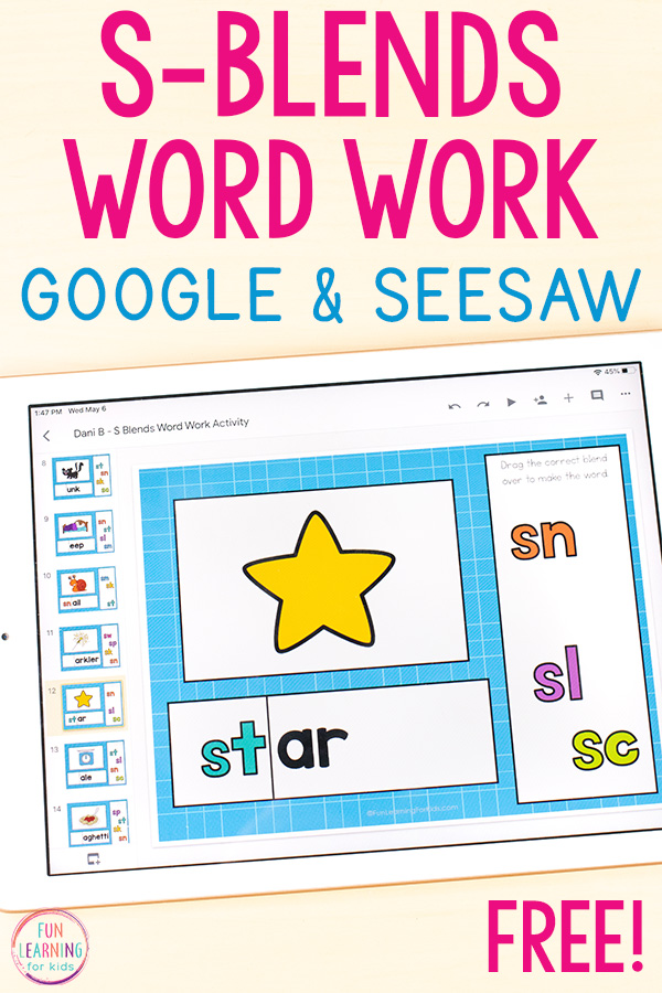 Free digital S-blends word work activity for Google Slides and Seesaw.