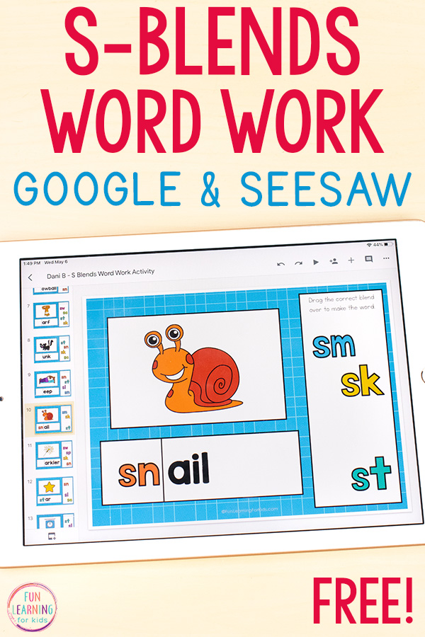 Word work activity for teaching kids to read S-blends.