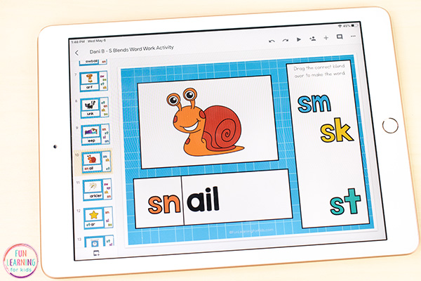 Teaching kids to read with an S-blend word work activity for Seesaw and Google Slides.