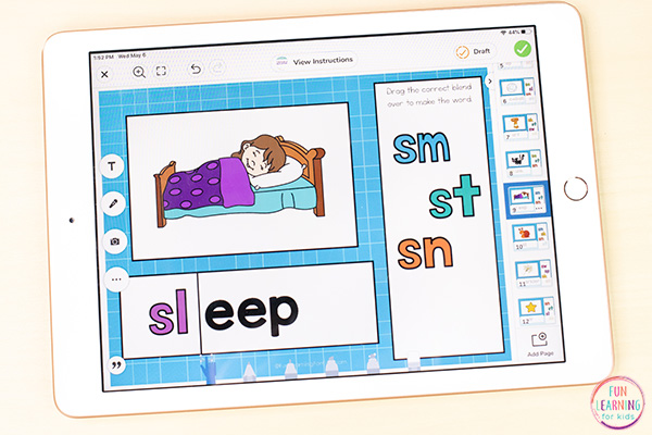 An iPad with an S-blends word work activity on it. This can be used on Seesaw or Google Slides.