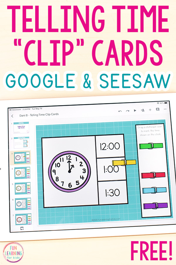 Virtual telling time clip cards for Google Slides or Seesaw displayed on an iPad.