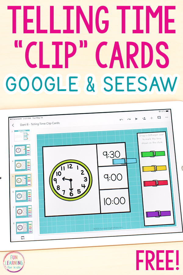 Free telling time activity to use on Seesaw or Google Slides.