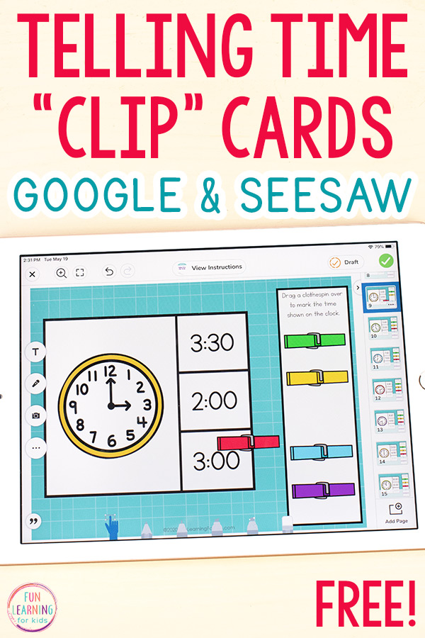 Telling time clip cards on an iPad. Use Google Slides or Seesaw.