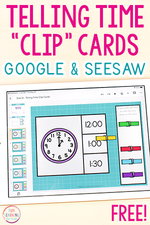 Telling time activity for Seesaw and Google Slides.
