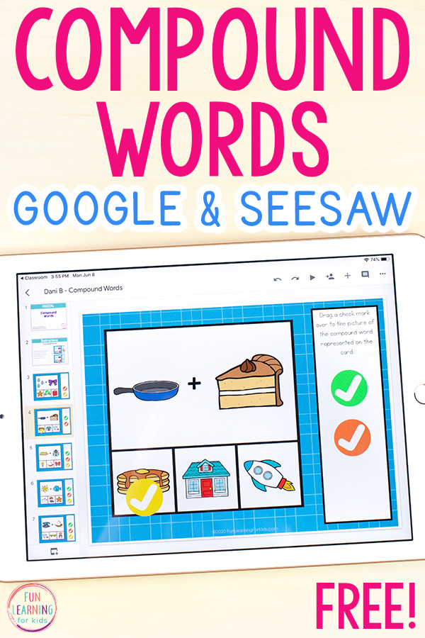 Compound words activity on Google Slides.