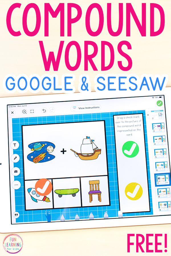 Compound words activity to use on Seesaw.