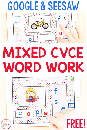 A CVCe phonics activity for students learning online.