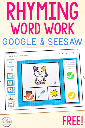 A fun rhyming words activity to use on Google Slides or Seesaw.