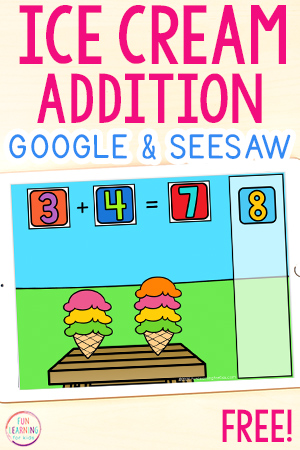 Ice cream theme addition activity for kindergarten and first grade.