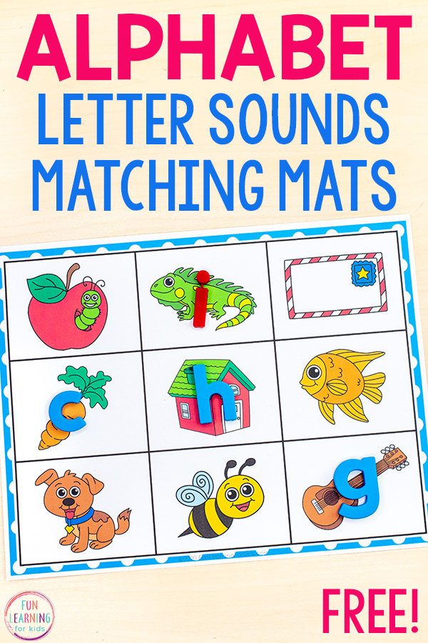 Free printable alphabet mats. Pictures of objects that represent a specific beginning sound on the mat. Students place alphabet manipulatives on the corresponding object.