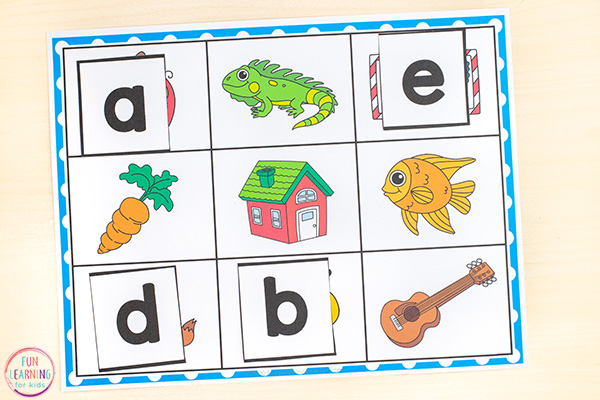 Alphabet mats with initial sounds pictures on it. Students match letter cards to the picture it matches.