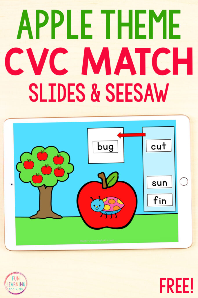 Apple theme CVC activity for Seesaw and Google Slides.