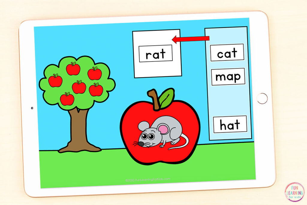 Fall CVC word matching activity. Match the CVC word tile to the picture on the apple.