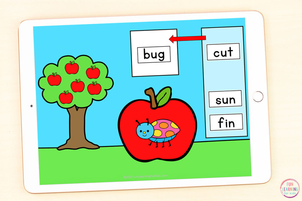 CVC activity for apple theme. Use on Google Slides or Seesaw this fall.