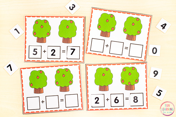 Free printable apple theme addition cards.