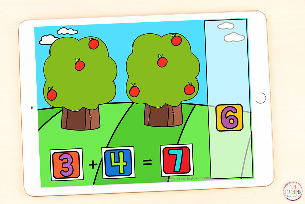 Free adding numbers with 10 math activity for apple theme lesson plans.