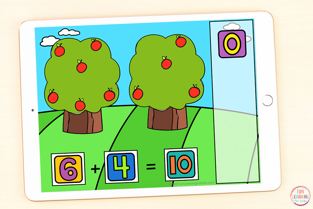 Addition within 10 digital activity for kindergarten or first grade.
