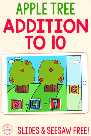 Apple tree math activity for fall math centers.