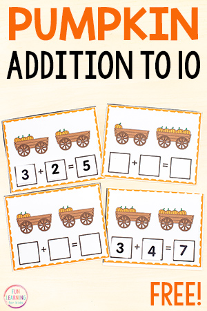 Free printable addition to 10 activity.