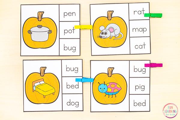 Free printable CVC activity for your pumpkin theme lesson plans.
