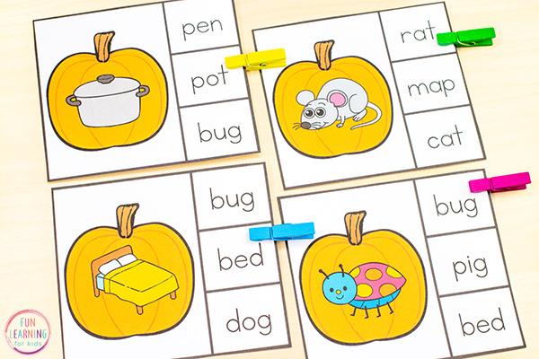 Pumpkin CVC matching clip cards activity for fall literacy centers.