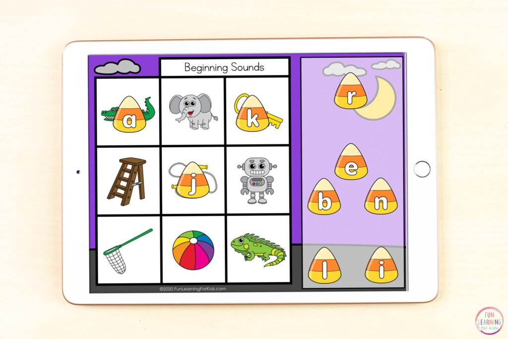 Free digital letter sounds activity to isolate sounds in CVC words. This fall candy corn theme is perfect for October!