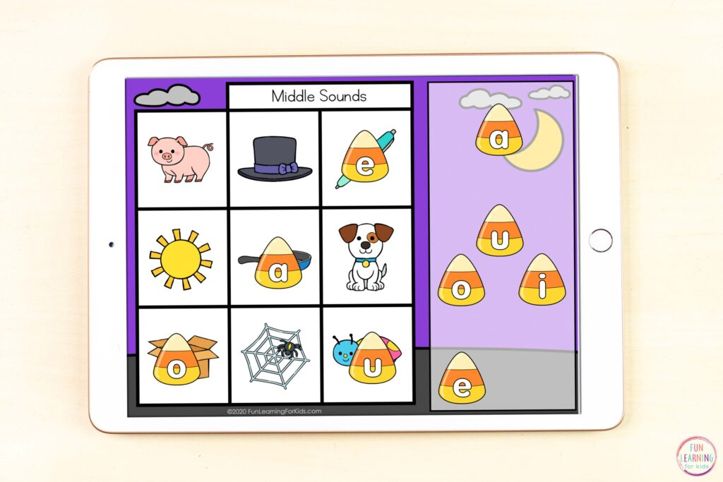 A free digital candy corn letter sounds activity for isolating beginning, middle, or ending sounds in CVC words.