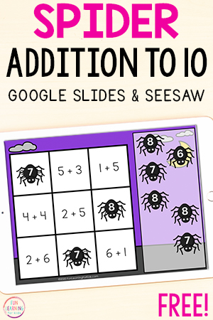 A fun paperless, spider addition activity.