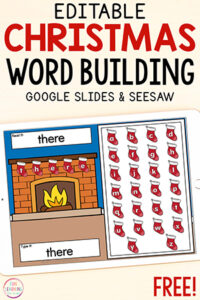 Christmas stocking word work activity for Seesaw and Google Slides.