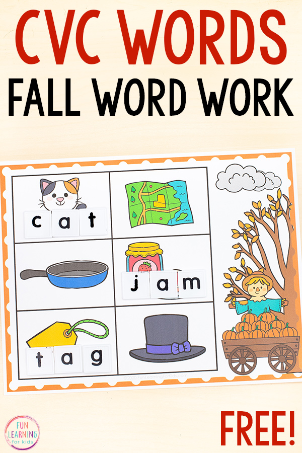 Free printable CVC building mats for fall theme literacy centers.