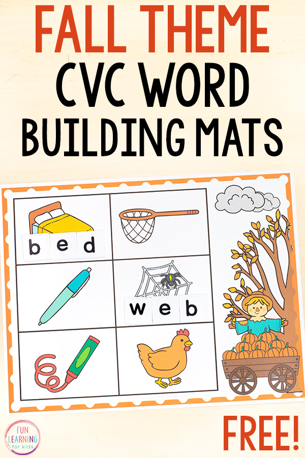 Free printable fall theme CVC word building mats for literacy centers in kindergarten and first grade.