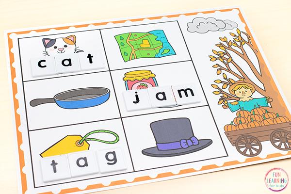 Fall CVC word building mats.