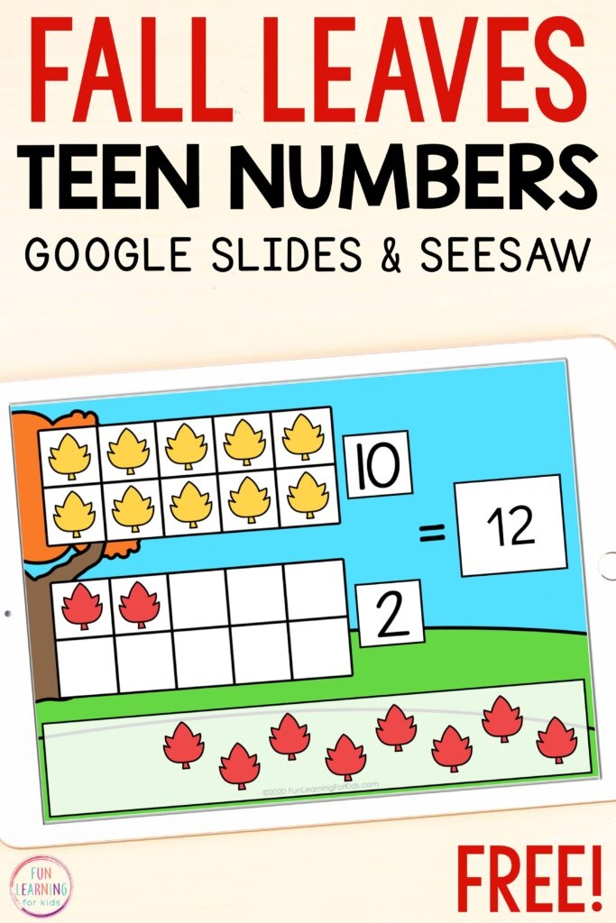 Free teen numbers math activity for fall centers. Available on Google Slides or Seesaw.