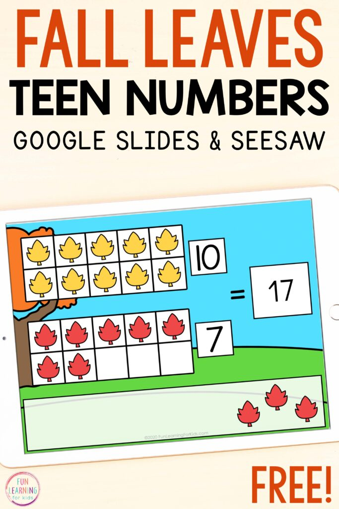 Fall leaves teen numbers activity for Seesaw and Google Slides.