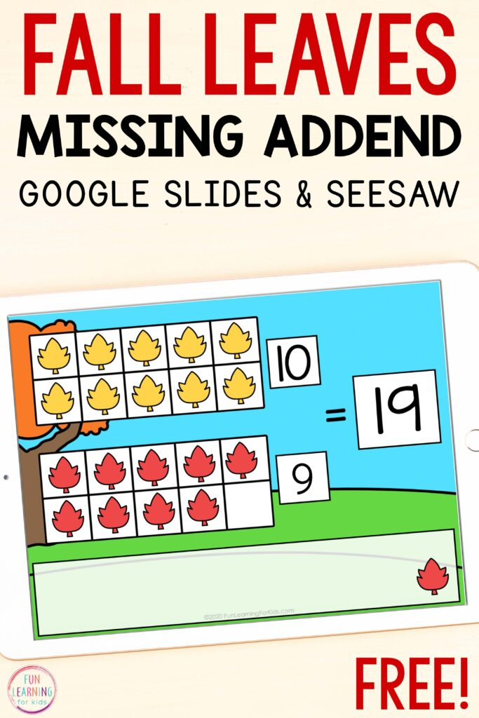 Free fall math activity for learning to decompose numbers and count on from a number.