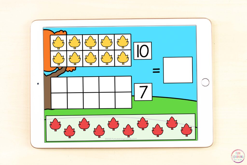 Free Google Slides and Seesaw fall math activity for learning teen numbers.