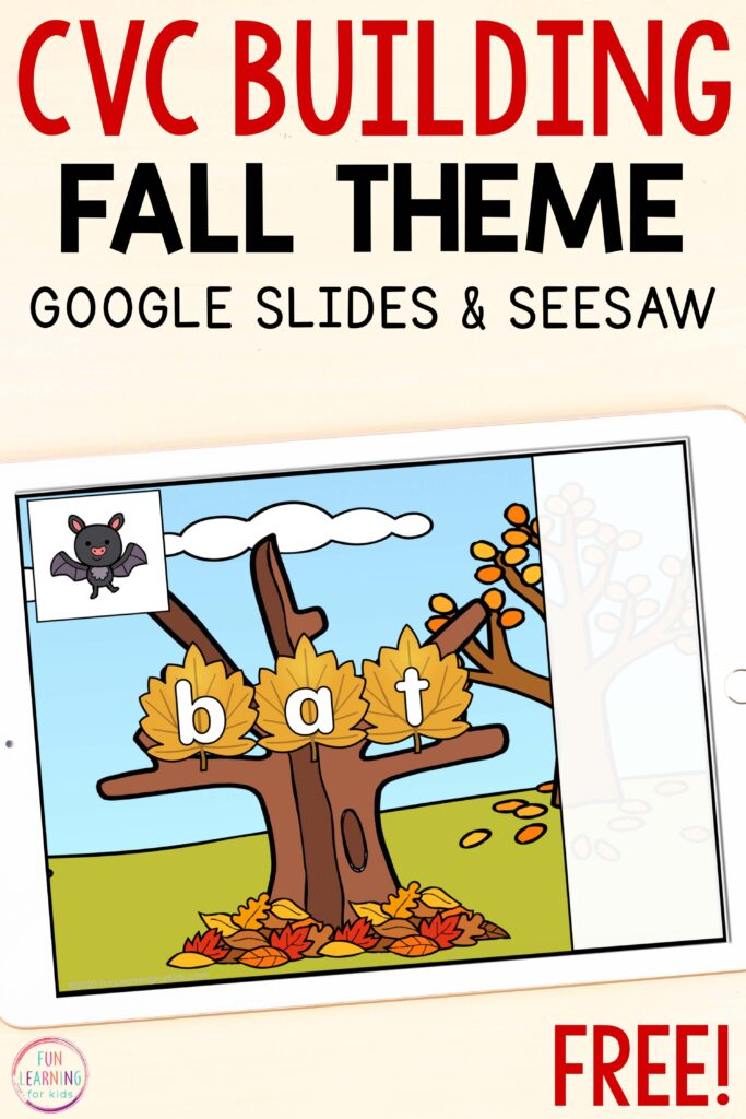Fall tree CVC word building activity for Google Slides and Seesaw.