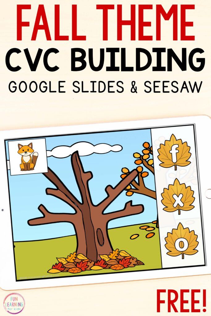 Free paperless fall CVC word building activity.