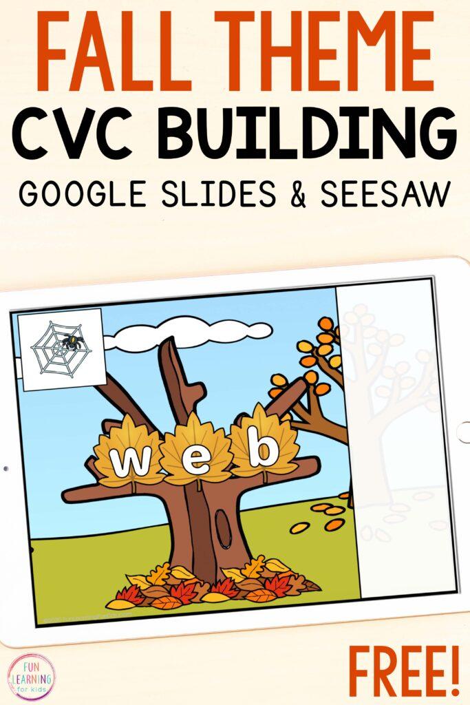 Free digital CVC word work activity fall literacy centers.