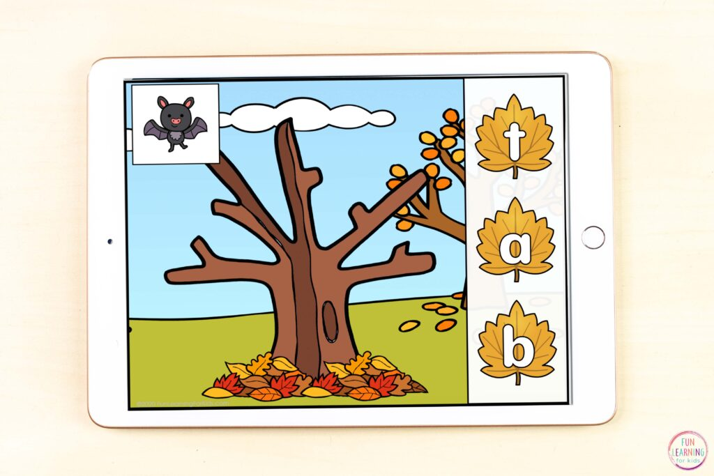 Fall theme CVC activity for isolating beginning, middle, and ending sounds while learning to spell CVC words.