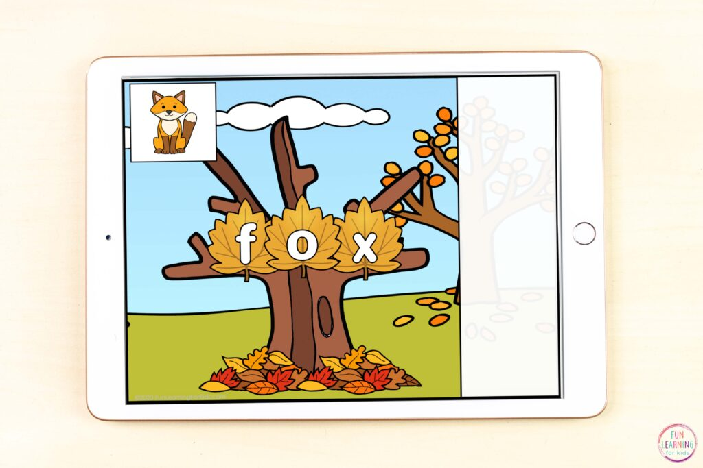 Fall CVC word work phonics activity for Seesaw and Google Slides.