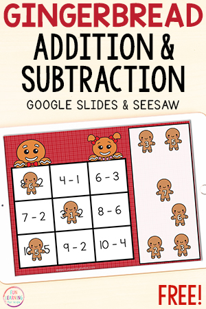 Digital gingerbread addition and subtraction math facts activity.