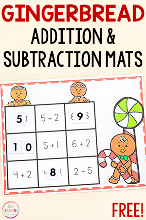 Gingerbread addition and subtraction within ten math facts activity.