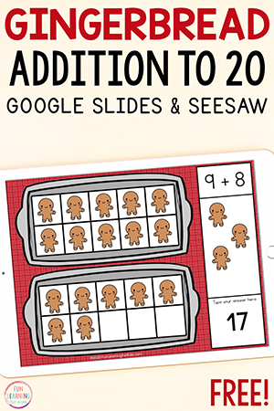 Gingerbread addition to 20 math activity.